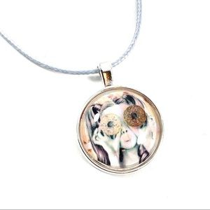Jewelry - Donut face leather cord fashion pendant necklace w